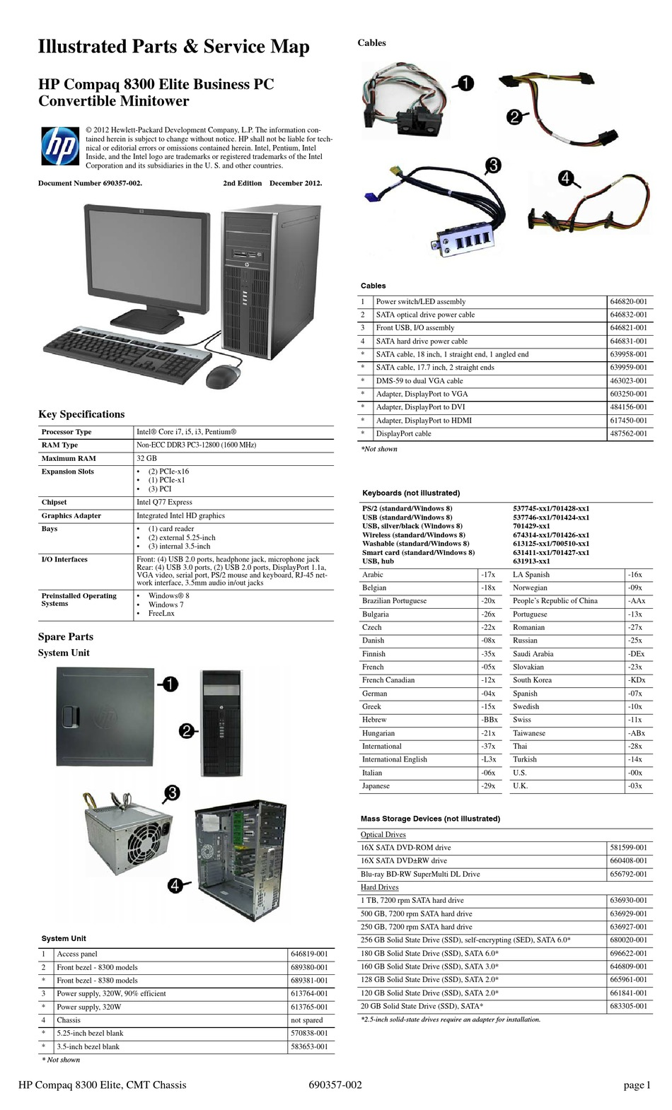 HP COMPAQ 8300 ELITE ILLUSTRATED PARTS & SERVICE MAP Pdf