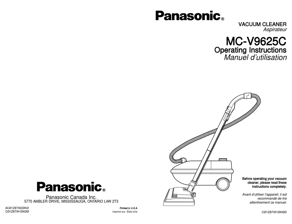 PANASONIC MC-V9625C OPERATING INSTRUCTIONS MANUAL Pdf