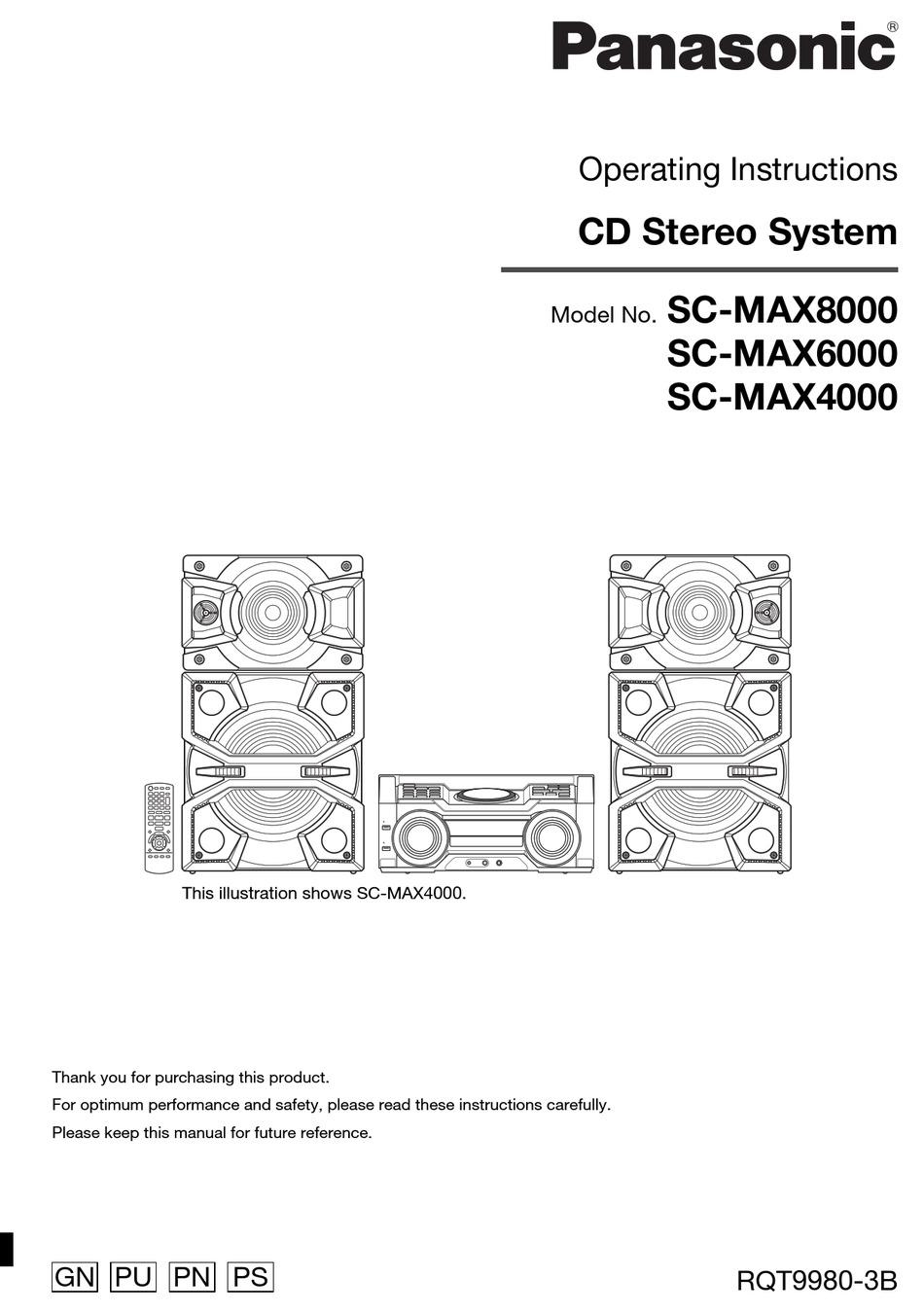 PANASONIC SC-MAX8000 OPERATING INSTRUCTIONS MANUAL Pdf