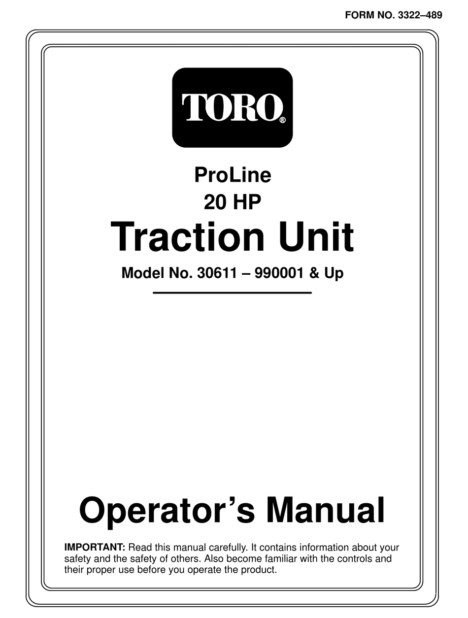 TORO PROLINE 20 HP 30611 OPERATOR'S MANUAL Pdf Download