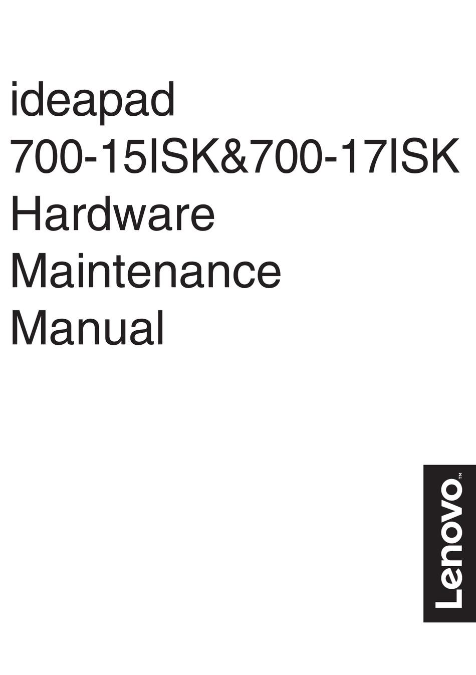 LENOVO IDEAPAD 700-15ISK HARDWARE MAINTENANCE MANUAL Pdf
