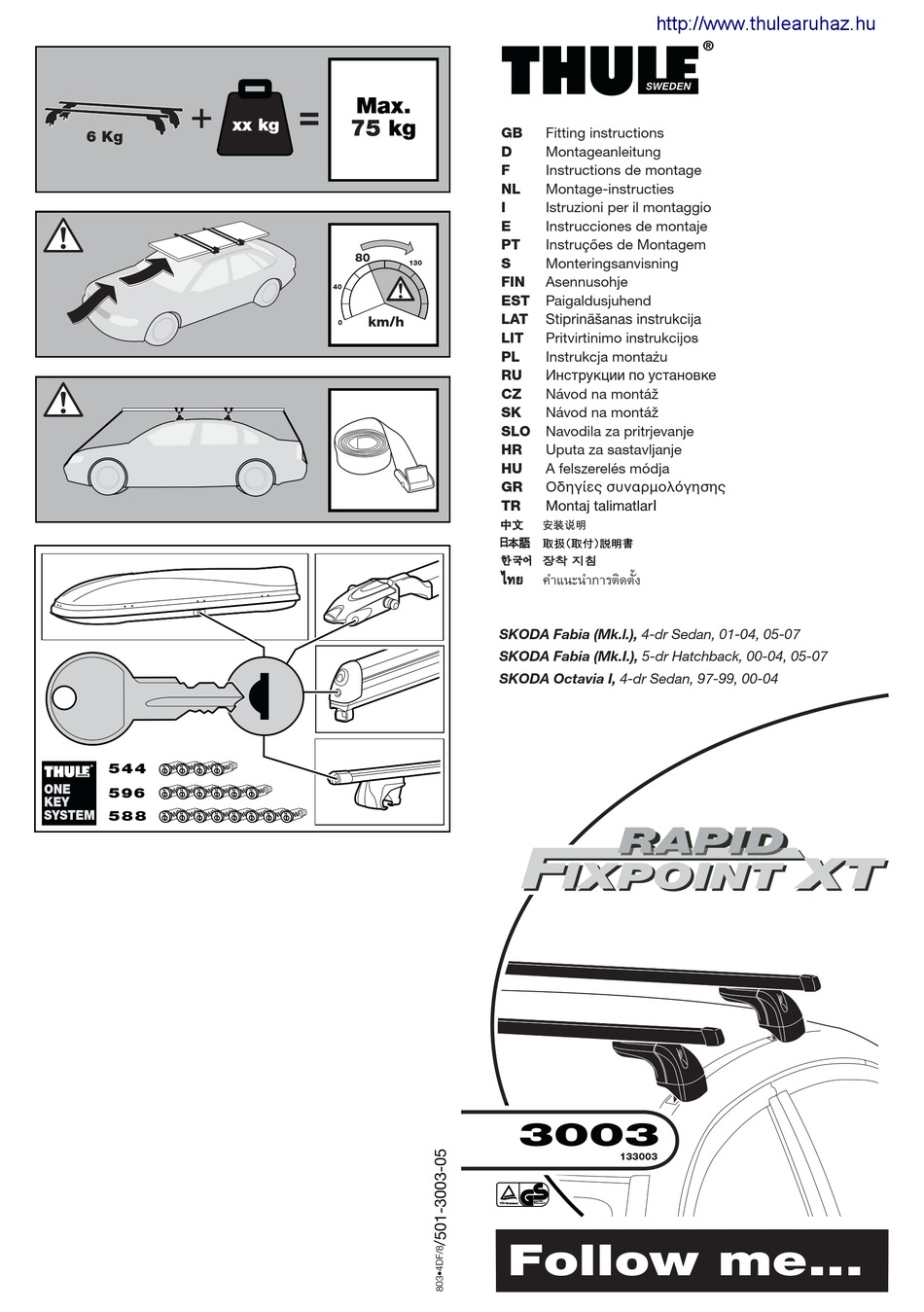 THULE 3003 FITTING INSTRUCTIONS MANUAL Pdf Download