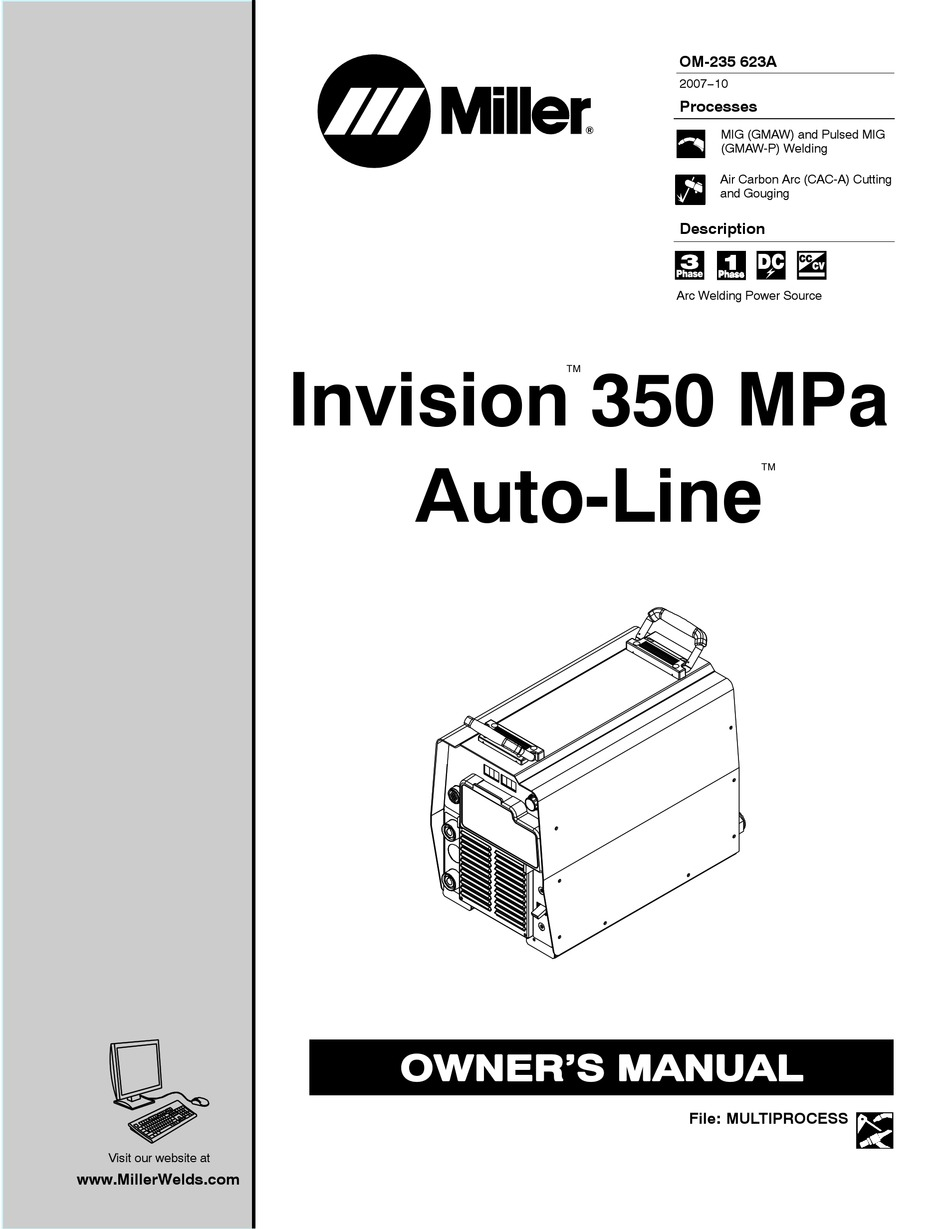 MILLER INVISION 350 MPA AUTO-LINE OWNER'S MANUAL Pdf