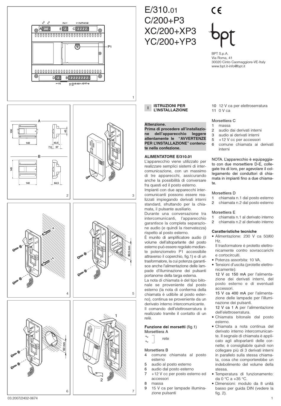 BPT E/310.01 INSTALLATION INSTRUCTIONS MANUAL Pdf Download