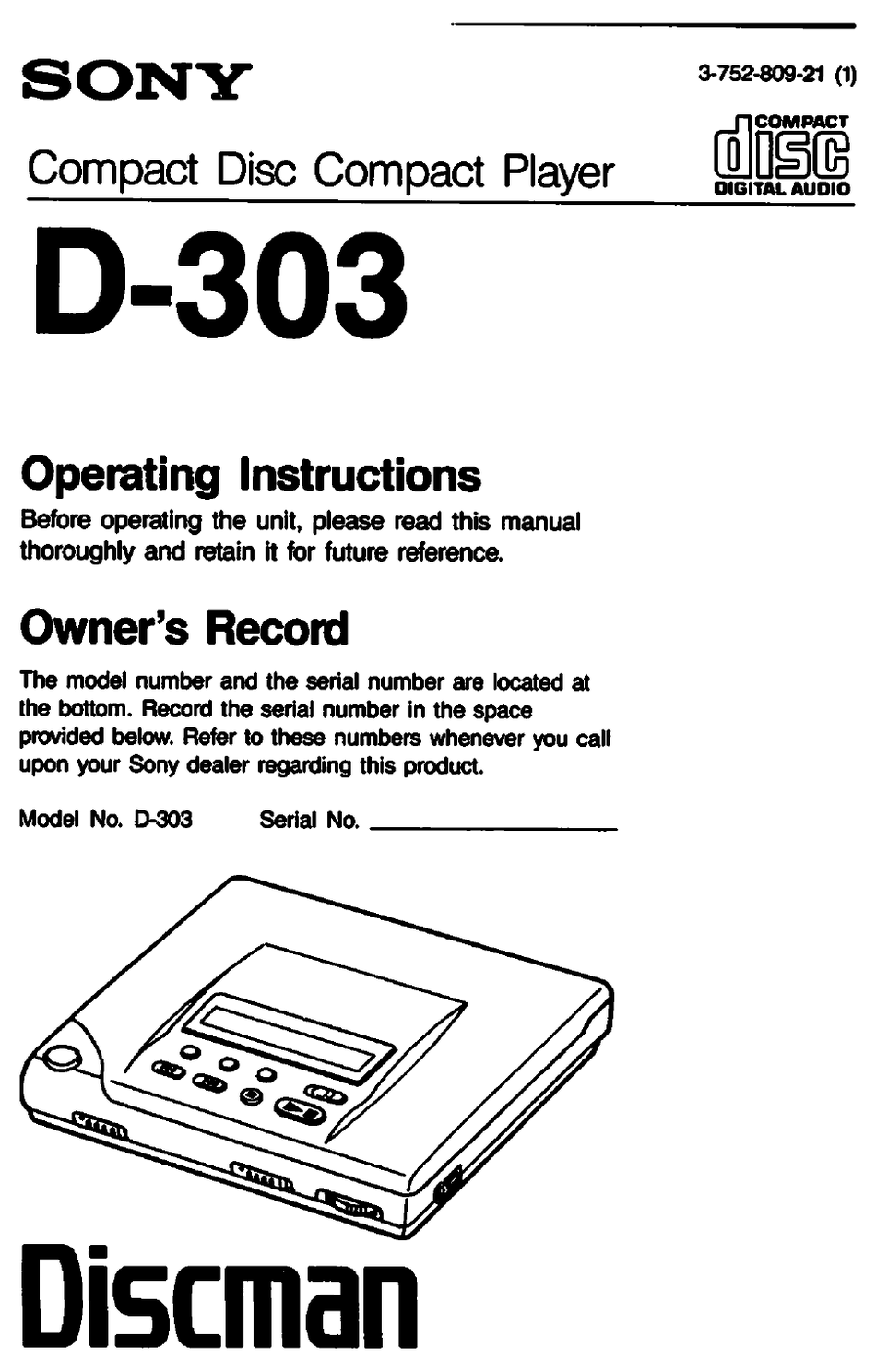 SONY D-303 OPERATING INSTRUCTIONS MANUAL Pdf Download