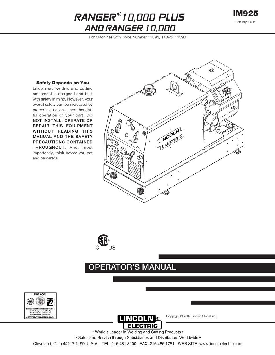 LINCOLN ELECTRIC RANGER 10,000 PLUS OPERATOR'S MANUAL Pdf