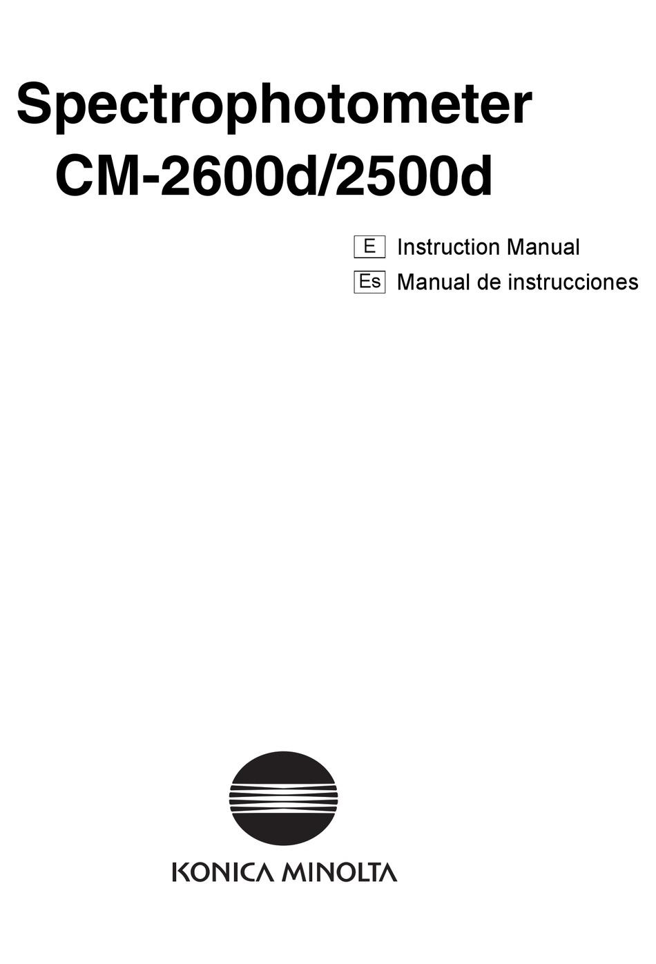 KONICA MINOLTA CM-2600D INSTRUCTION MANUAL Pdf Download