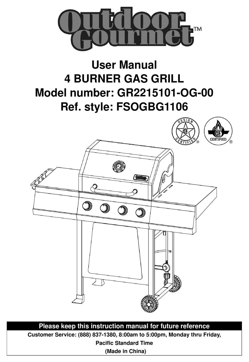 OUTDOOR GOURMET GR2215101-OG-00 USER MANUAL Pdf Download
