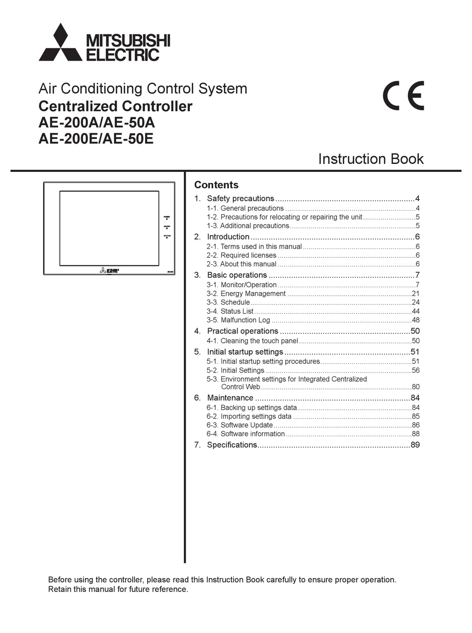 MITSUBISHI ELECTRIC AE-200A INSTRUCTION BOOK Pdf Download