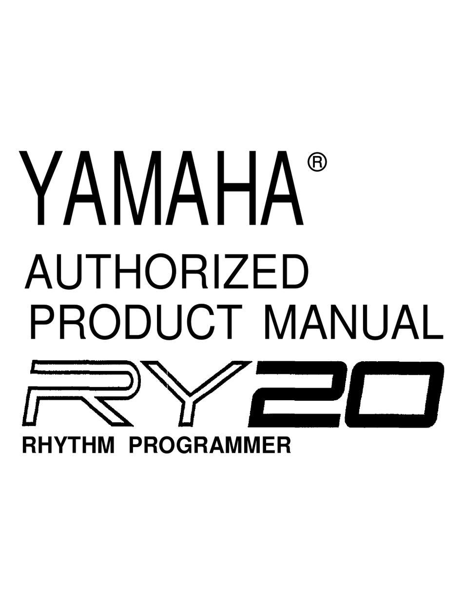 YAMAHA RY20 AUTHORIZED PRODUCT MANUAL Pdf Download