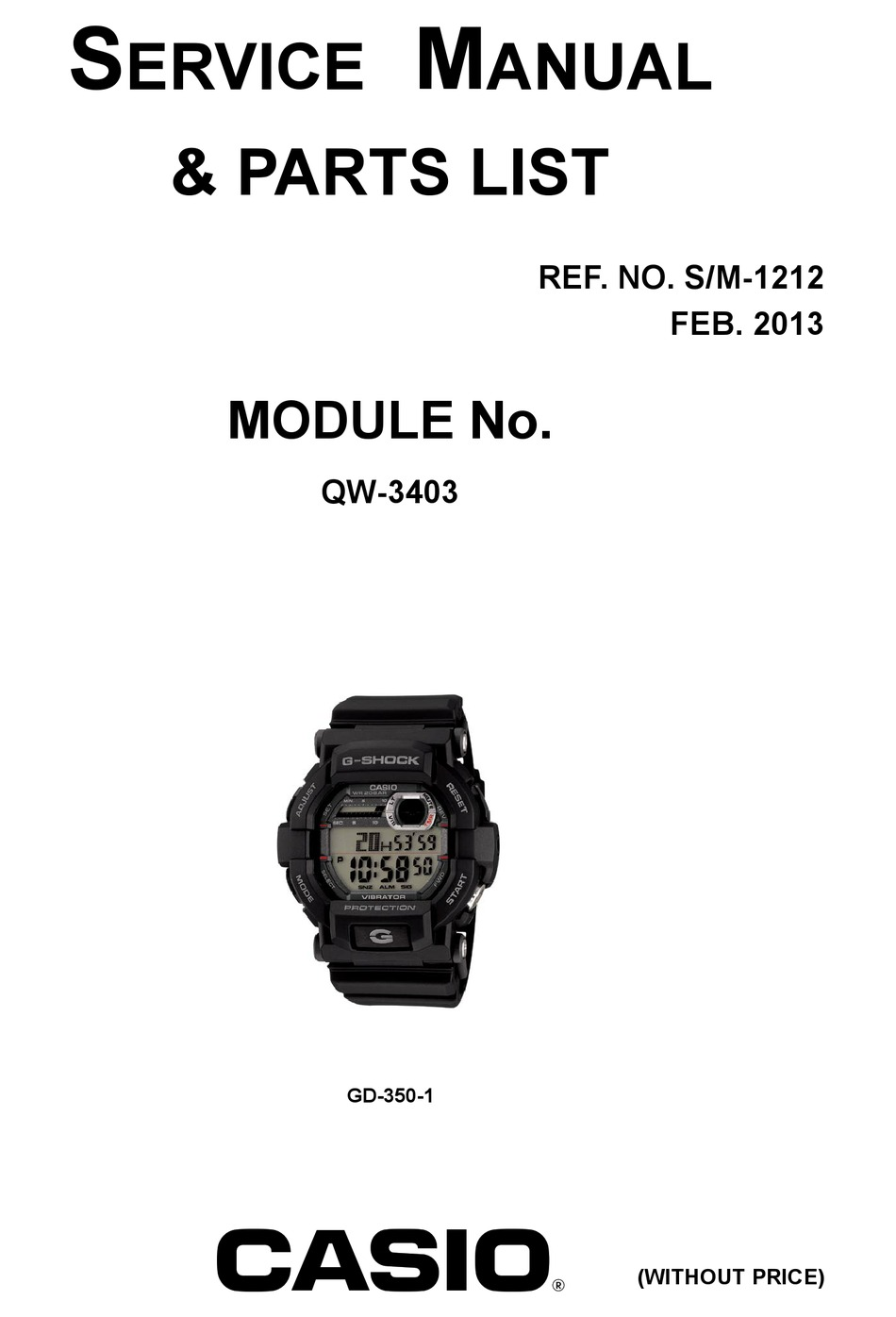 CASIO G-SHOCK QW-3403 SERVICE MANUAL & PARTS LIST Pdf