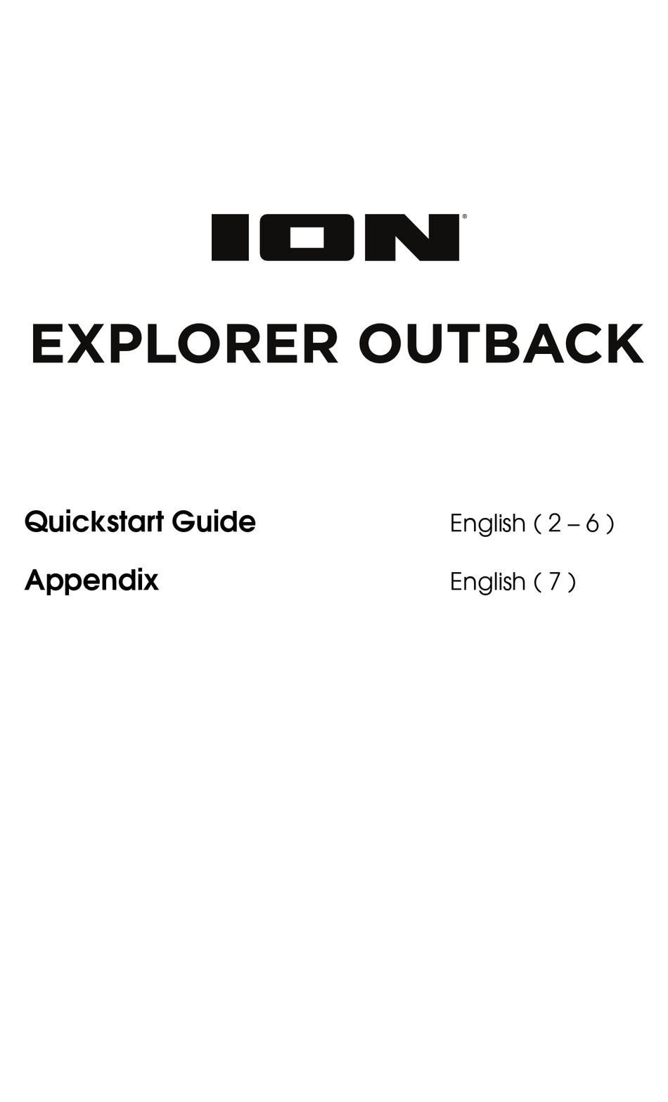 ION EXPLORER OUTBACK QUICK START MANUAL Pdf Download