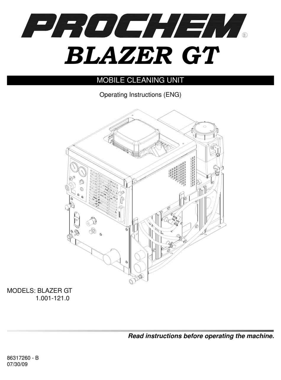 PROCHEM BLAZER GT OPERATING INSTRUCTIONS MANUAL Pdf