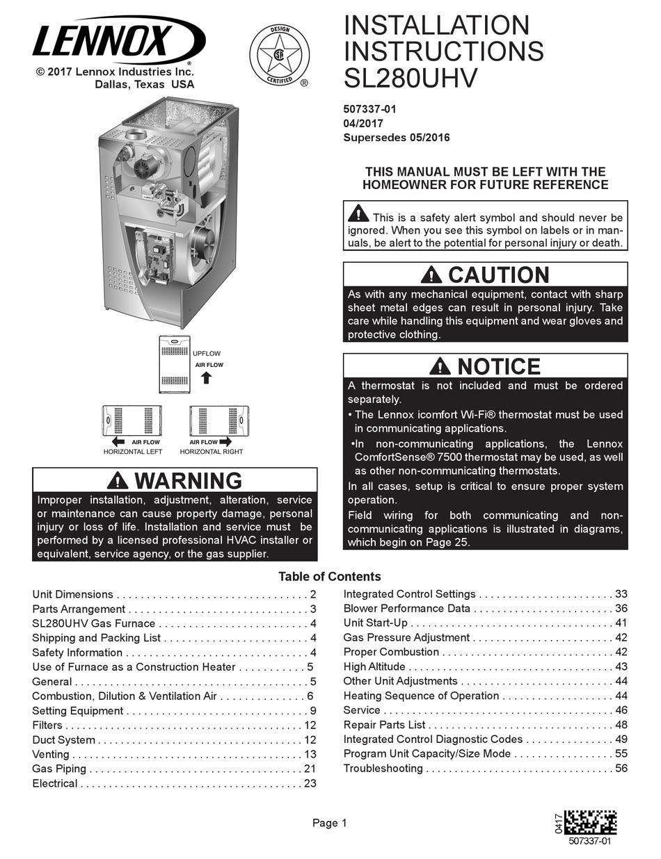 LENNOX SL280UH090V36B INSTALLATION INSTRUCTIONS MANUAL Pdf