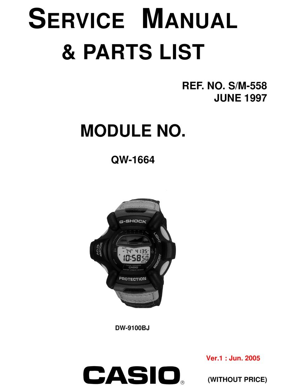 CASIO DW-9100BJ SERVICE MANUAL & PARTS LIST Pdf Download