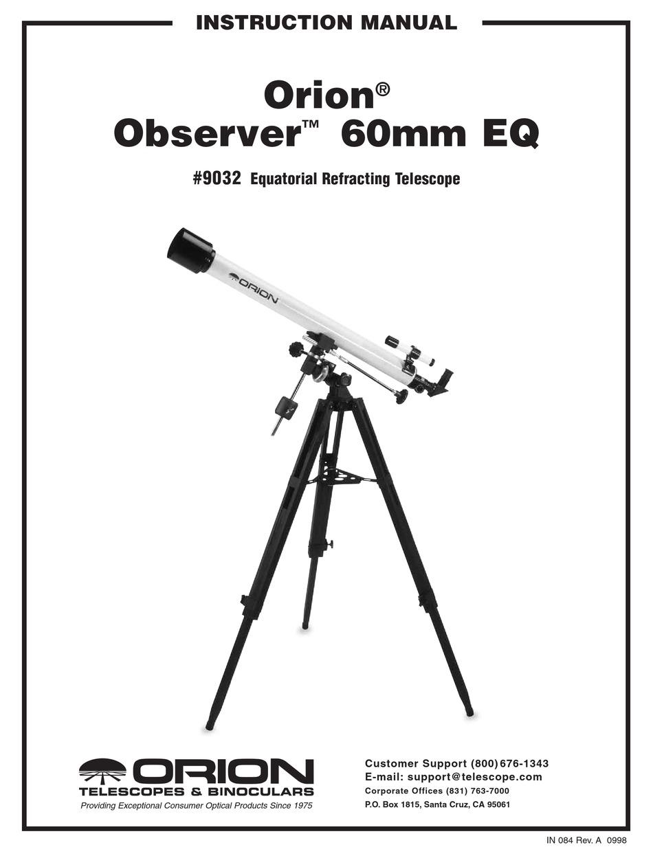 ORION OBSERVER 60MM EQ 9032 INSTRUCTION MANUAL Pdf