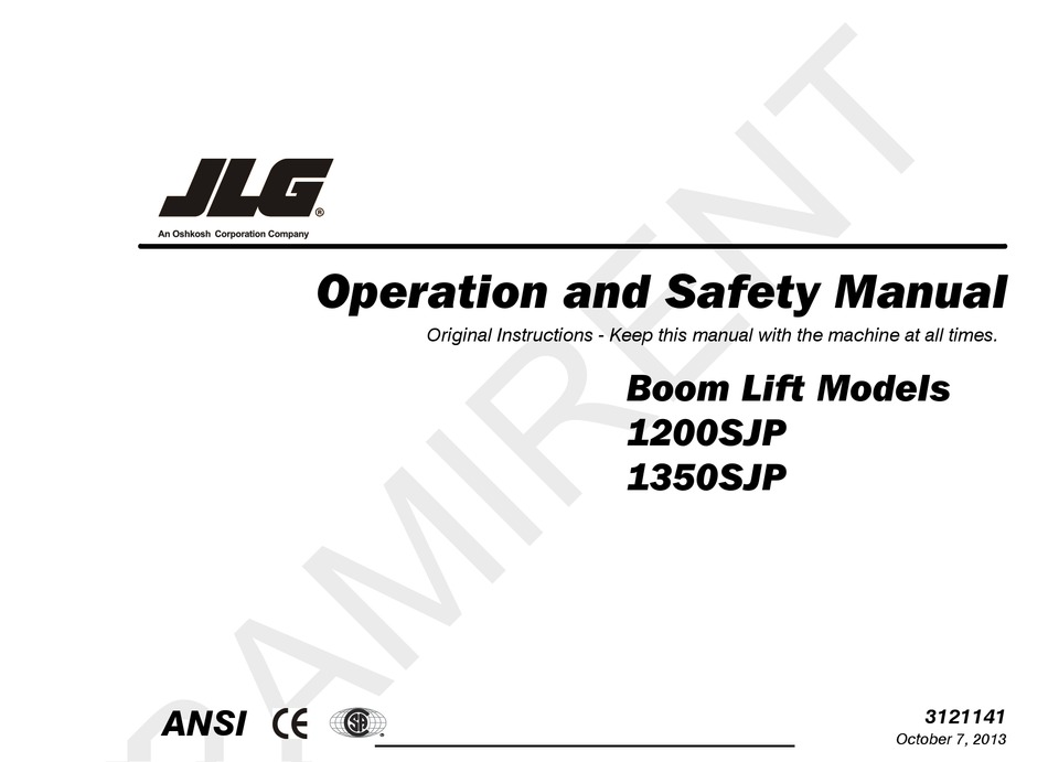 JLG 1350SJP OPERATION AND SAFETY MANUAL Pdf Download