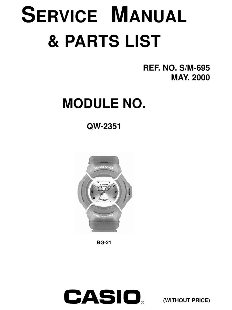 CASIO QW-2351 SERVICE MANUAL & PARTS LIST Pdf Download