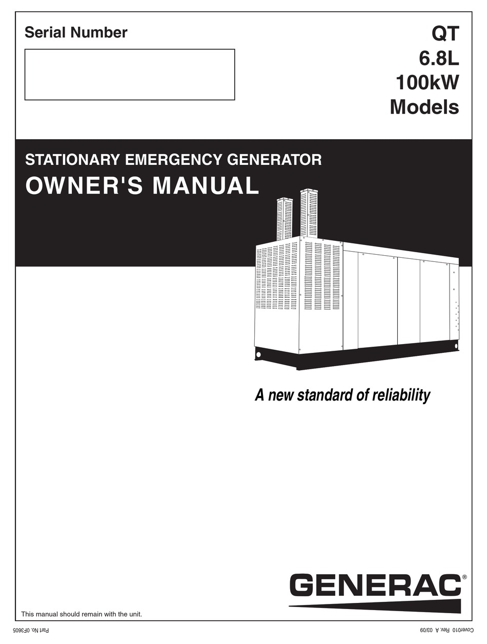 GENERAC POWER SYSTEMS QT 100 OWNER'S MANUAL Pdf Download