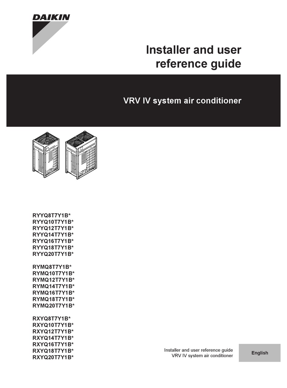 DAIKIN RYYQ8T7Y1B INSTALLER AND USER REFERENCE MANUAL Pdf