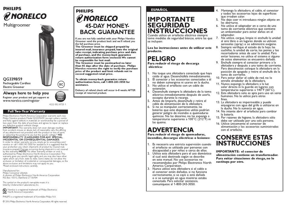 PHILIPS NORELCO QG3398/59 USER MANUAL Pdf Download