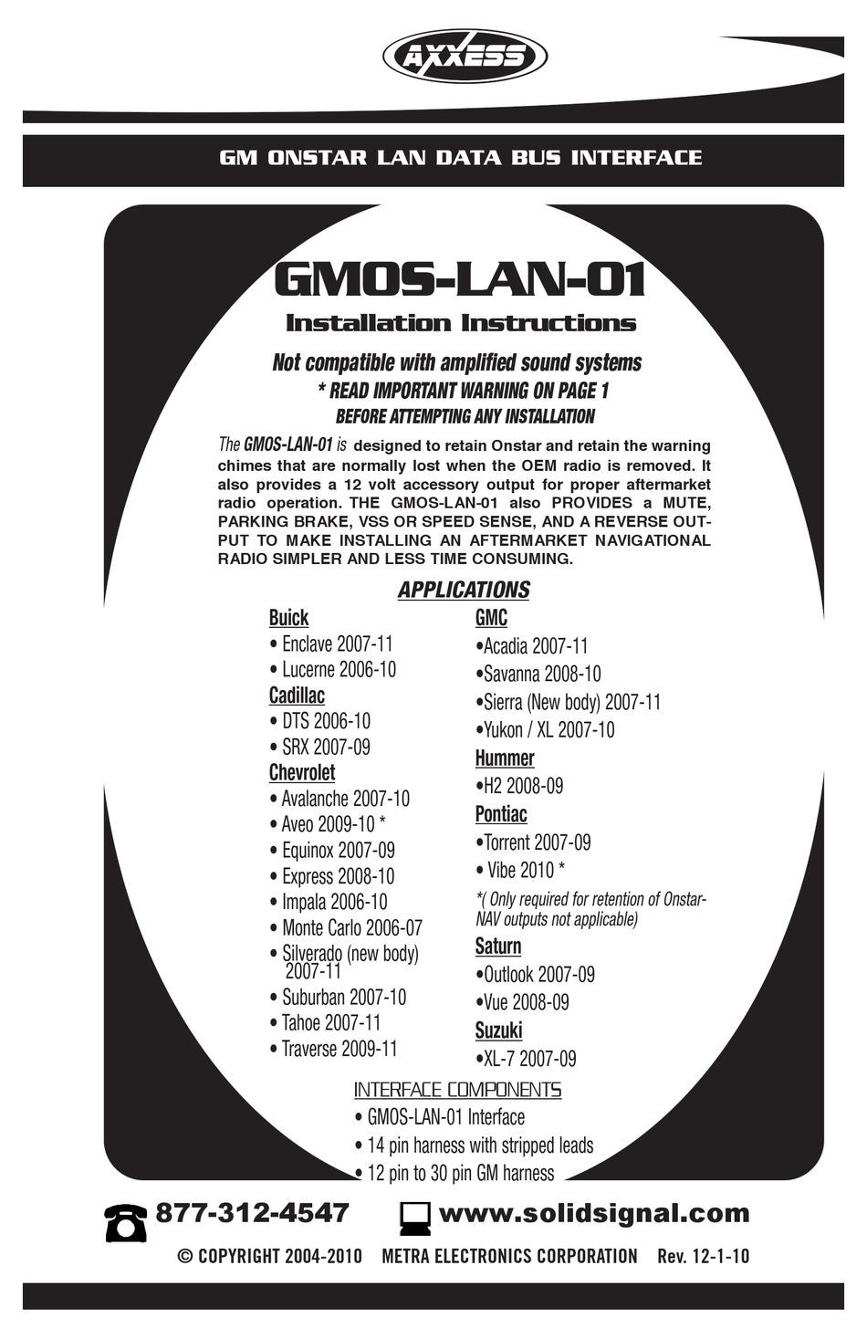 AXXESS GMOS-LAN-01 INSTALLATION INSTRUCTIONS MANUAL Pdf