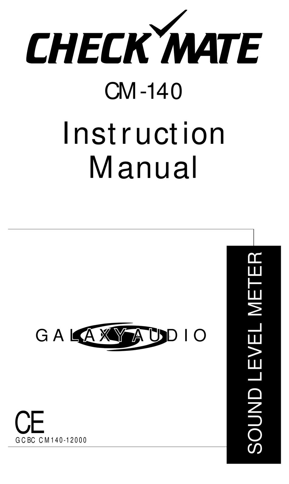 GALAXY AUDIO CHECK-MATE CM-140 INSTRUCTION MANUAL Pdf