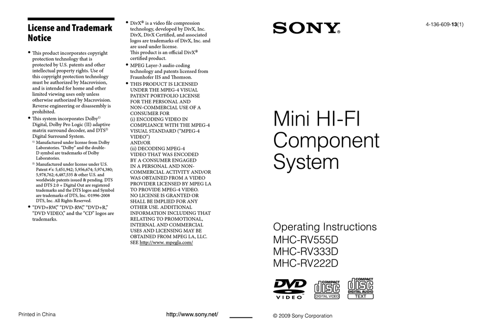 SONY MHC-RV555D OPERATING INSTRUCTIONS MANUAL Pdf Download