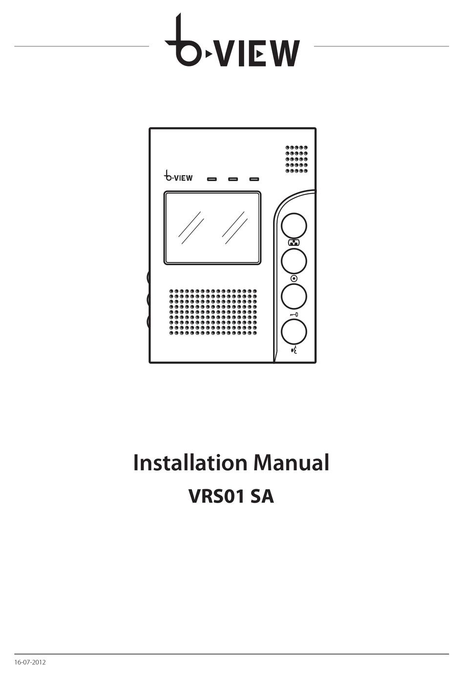 BPT B-VIEW VRS01 SA INSTALLATION MANUAL Pdf Download