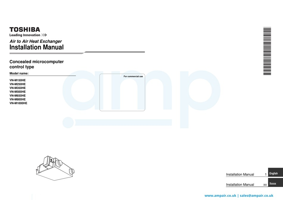 TOSHIBA VN-M150HE INSTALLATION MANUAL Pdf Download