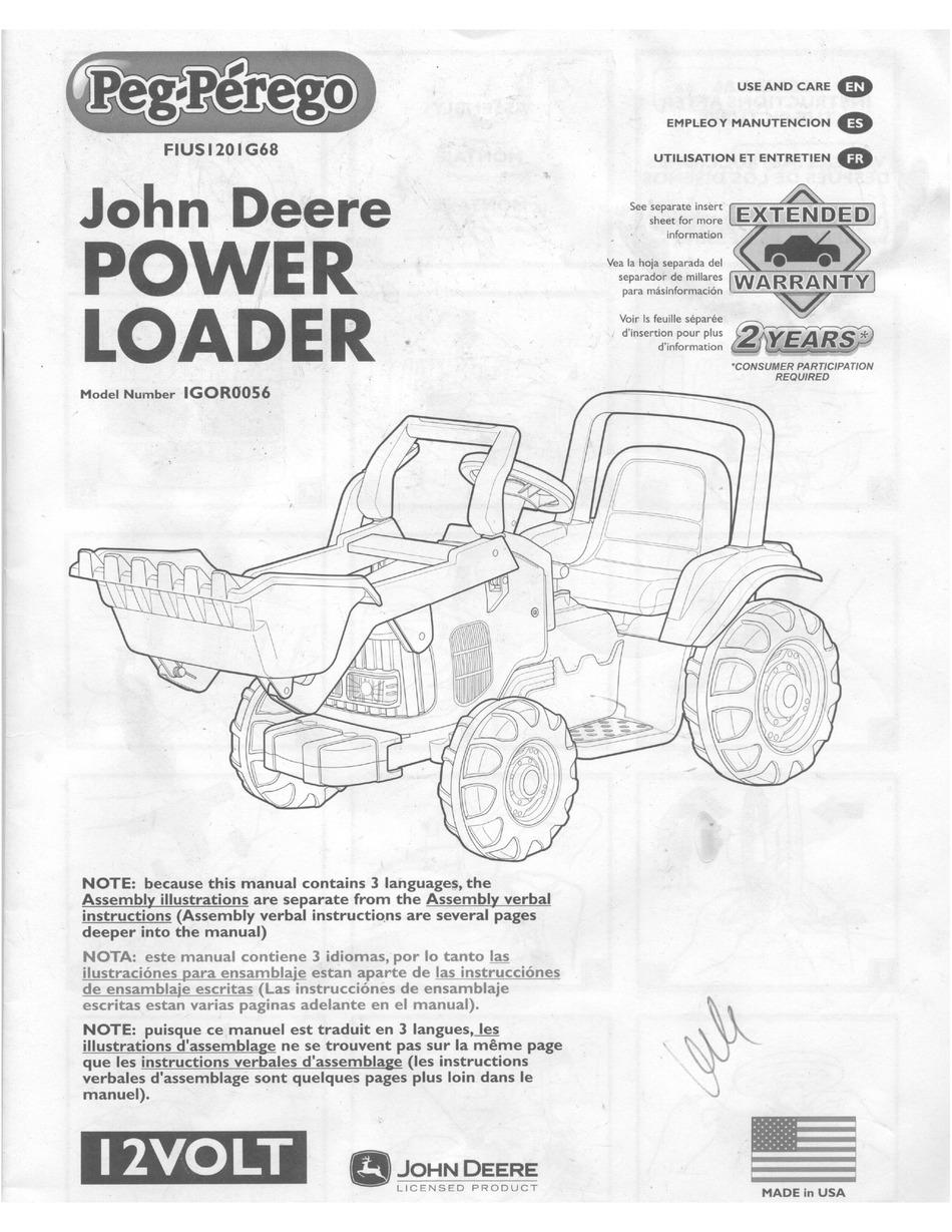 PEG-PEREGO JOHN DEERE POWER LOADER USE AND CARE MANUAL Pdf