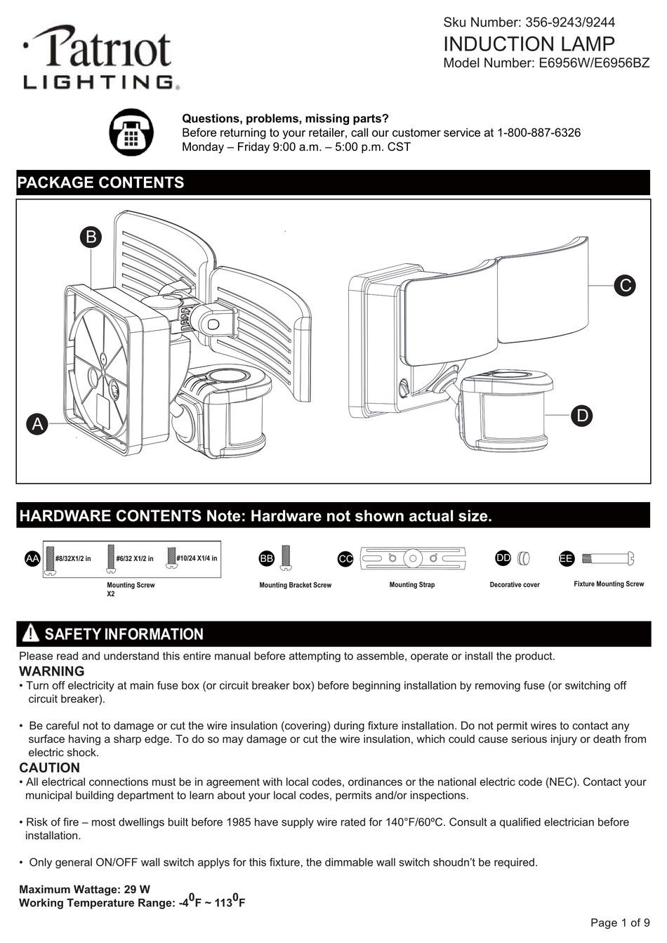patriot lighting e6956w manual pdf