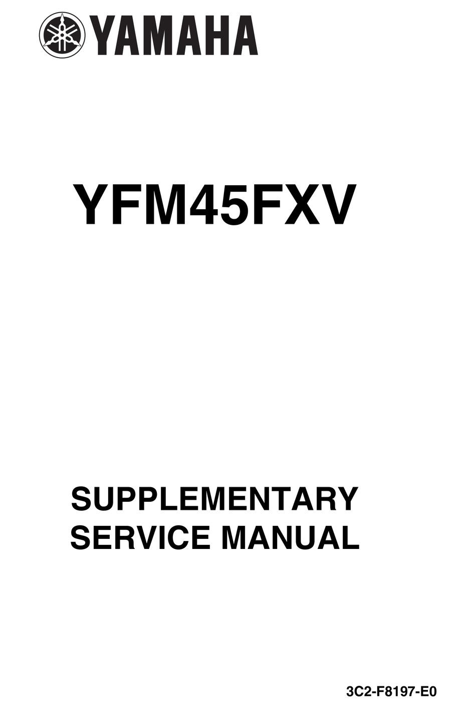 YAMAHA YFM45FXV SUPPLEMENTARY SERVICE MANUAL Pdf Download
