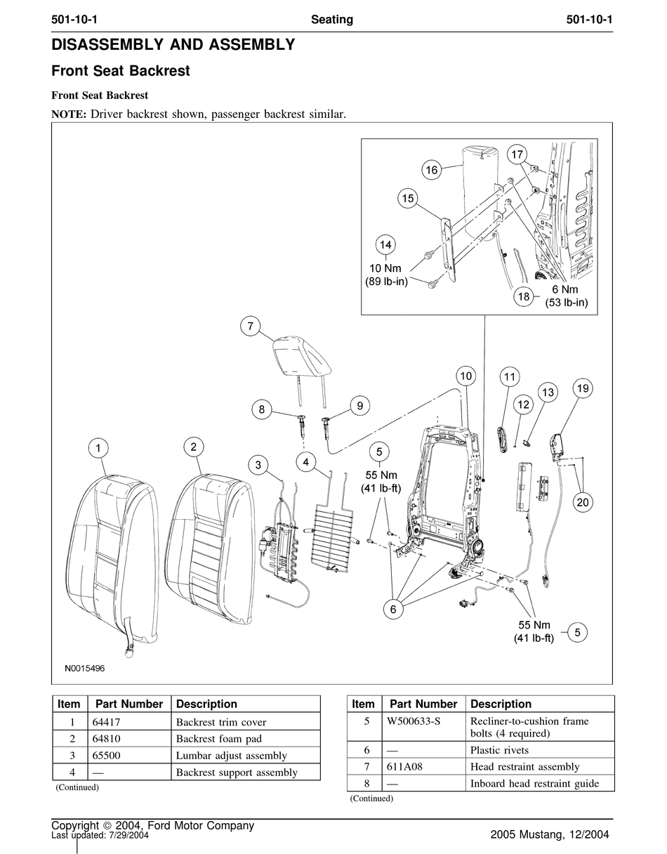 FORD 2005 MUSTANG DISASSEMBLY AND ASSEMBLY Pdf Download
