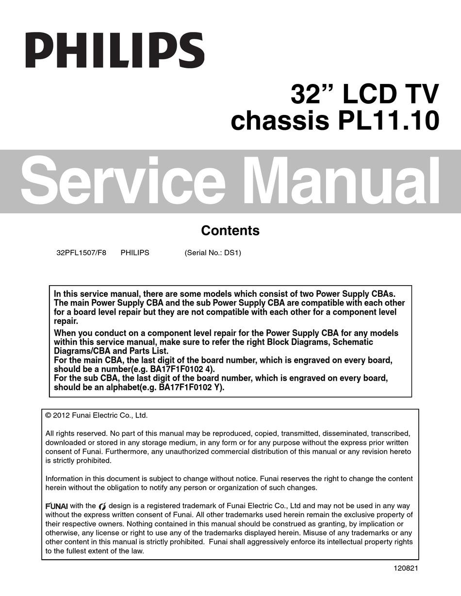 philips 32pfl1507 f8 service manual pdf