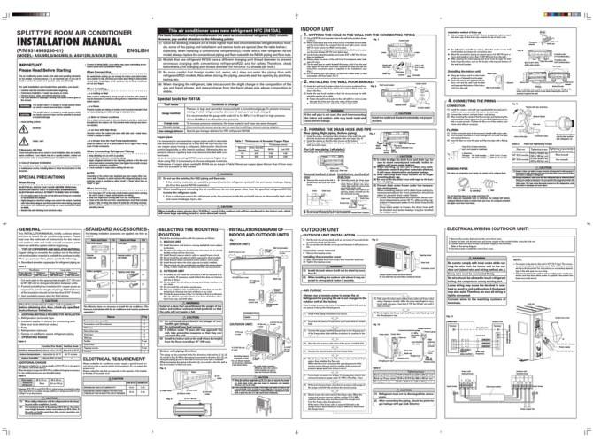 fujitsu asu9rls installation manual pdf download  manualslib