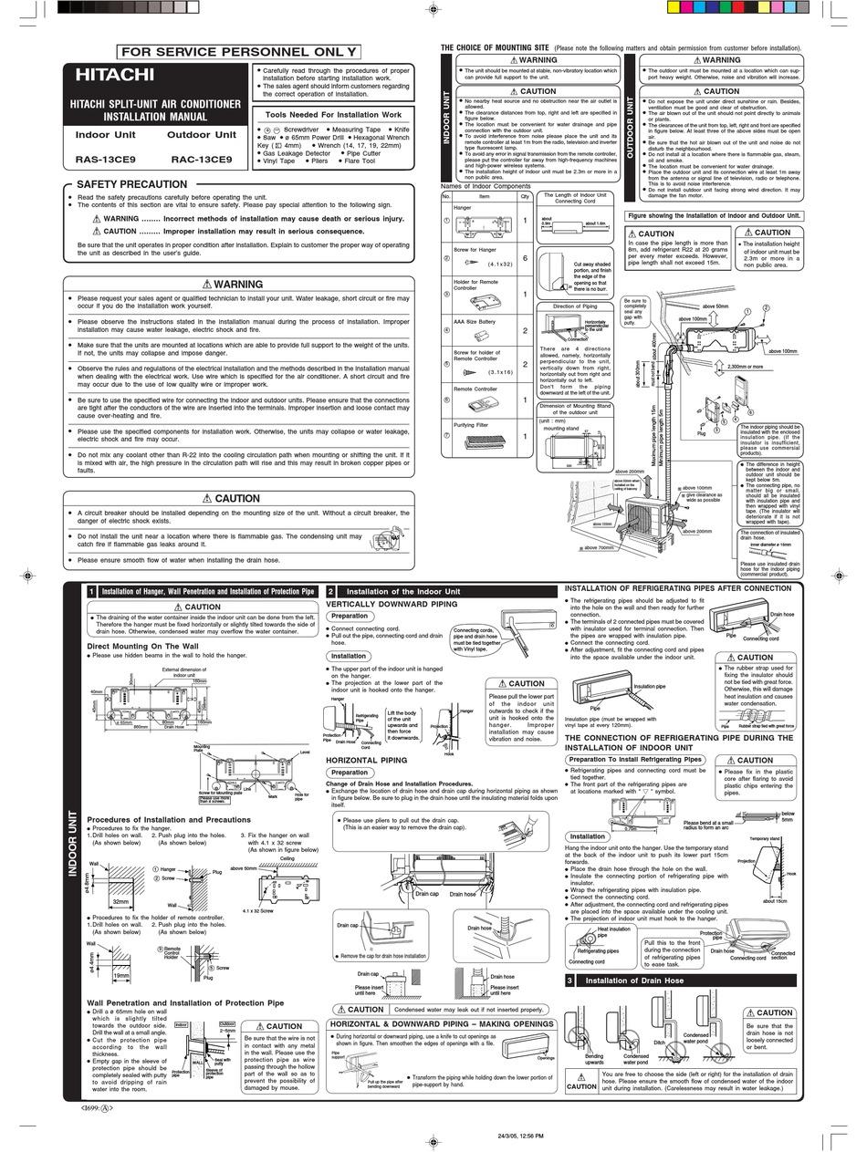 HITACHI RAC-13CE9 INSTALLATION MANUAL Pdf Download