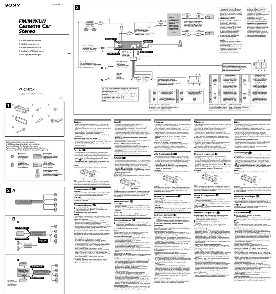 SONY XR-CA670X INSTALLATION & CONNECTION MANUAL Pdf