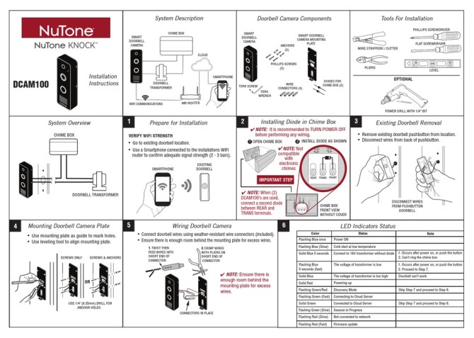 nutone knock dcam100 installation instructions and