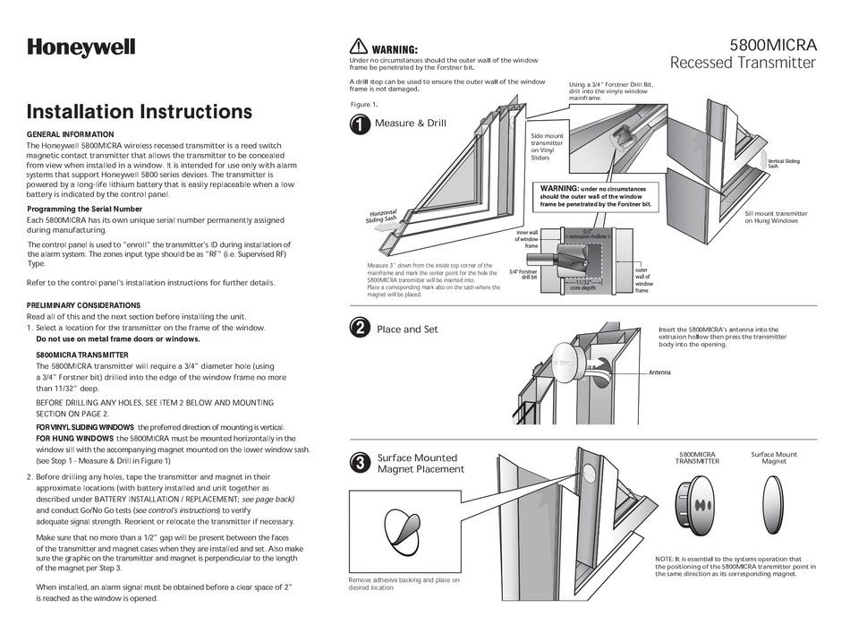 HONEYWELL 5800MICRA INSTALLATION INSTRUCTIONS Pdf Download