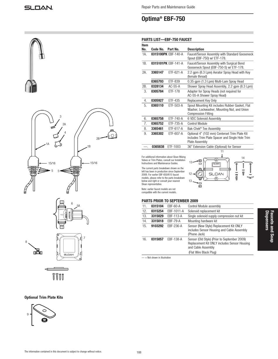SLOAN OPTIMA EBF-750 REPAIR PARTS AND MAINTENANCE MANUAL