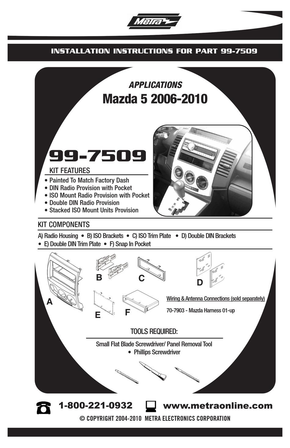 MAZDA 99-7509 INSTALLATION INSTRUCTIONS MANUAL Pdf