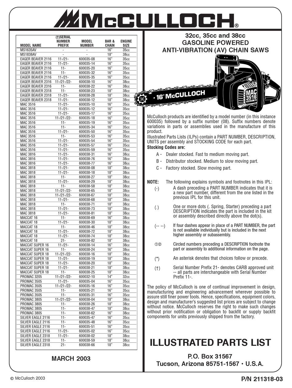 MCCULLOCH MS1635AV ILLUSTRATED PARTS LIST Pdf Download