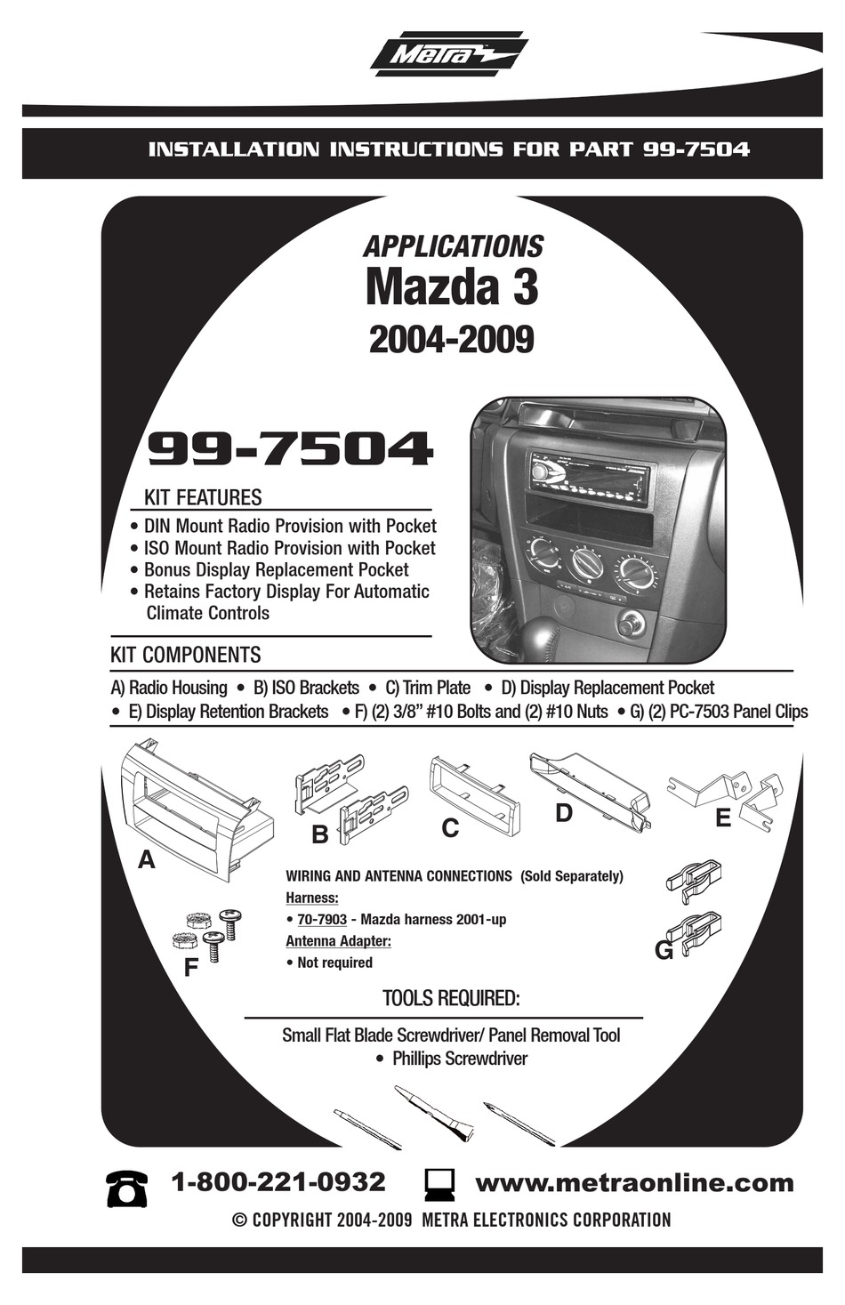 METRA ELECTRONICS 99-7504 INSTALLATION INSTRUCTIONS MANUAL