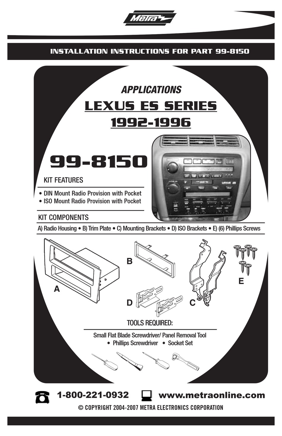 METRA ELECTRONICS LEXUS 99-8150 INSTALLATION INSTRUCTIONS