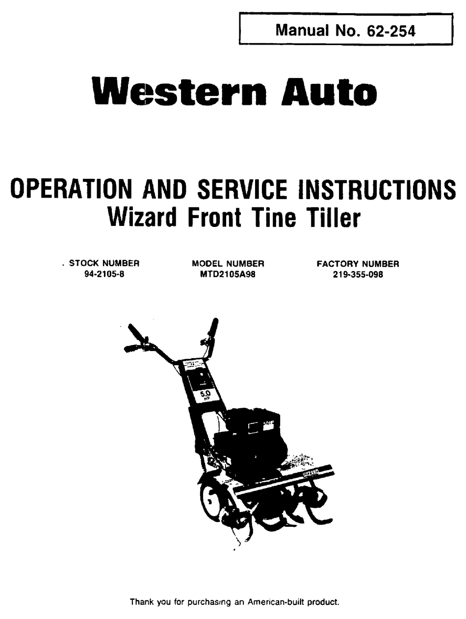 WESTERN AUTO 219-355-098 OPERATION AND SERVICE
