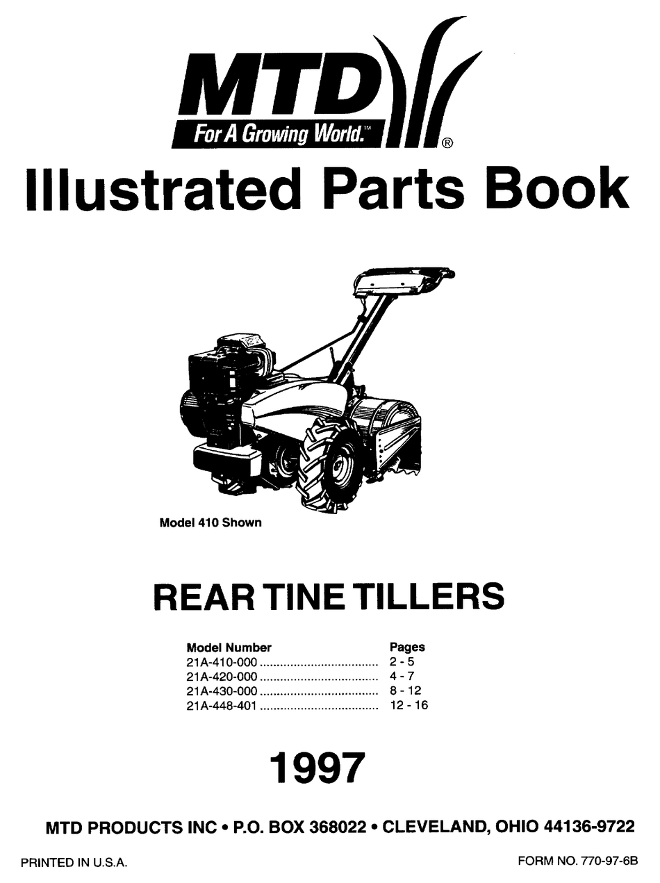 MTD 21A-410-000 ILLUSTRATED PARTS BOOK Pdf Download