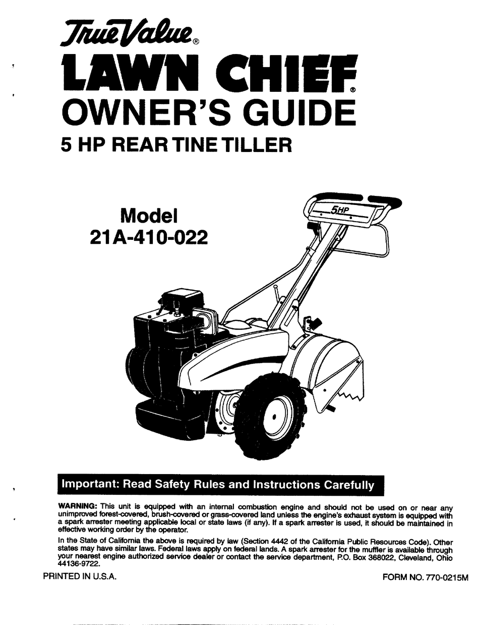 TRUE VALUE LAWN CHIEF 21A-410-022 OWNER'S MANUAL Pdf