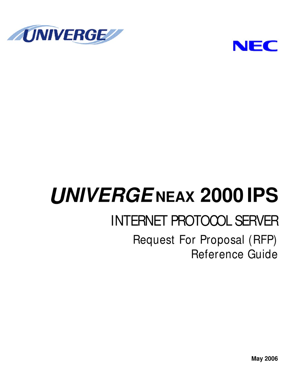 NEC UNIVERGE NEAX 2000 IPS REFERENCE MANUAL Pdf Download
