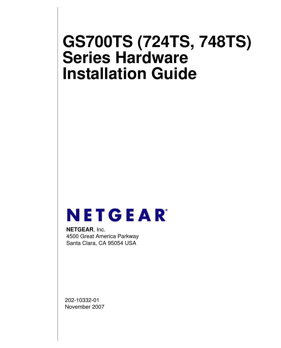 NETGEAR GS700TS 724TS HARDWARE INSTALLATION MANUAL Pdf